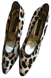Escada Animal Print Calf Hair Pony Hair Leopard Print Pumps