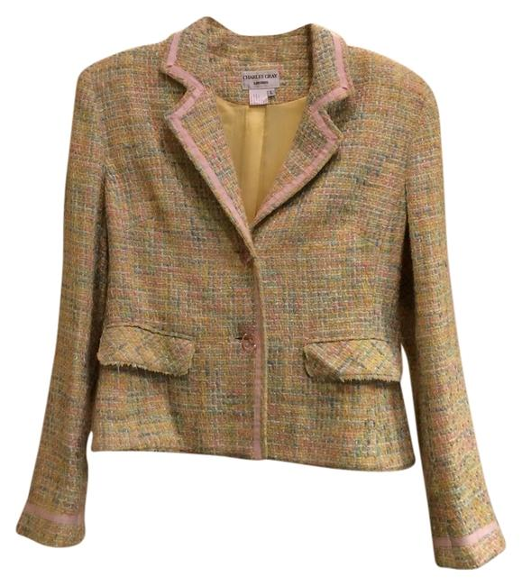 Item - Pale Pink Yellow White and Blue Tweed Jacket Size 14 (L)