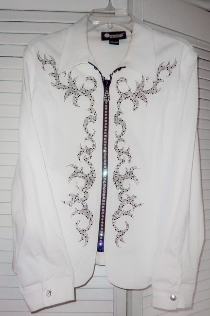 Preload https://img-static.tradesy.com/item/134660/christine-alexander-white-with-black-trim-and-rhinestone-designer-jacket-night-out-top-size-12-l-0-0-650-650.jpg