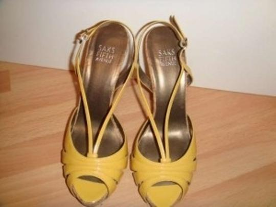 Saks Fifth Avenue Yellow Patent Sandals