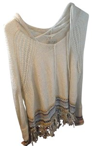 Vintage Havana Embroidered Fringe Hem Beaded Sweater