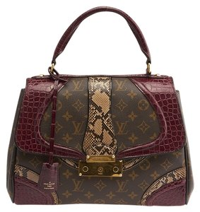Louis Vuitton Grand Marriage Monogramissime Python Alligator Canvas Tote in Burgundy & Brown