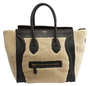 Céline Shearling Leather Tote in Tan & Black