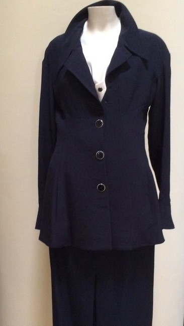 Karl Lagerfeld Karl Largerfeld Navy Blue Asymmetric Suit Image 11