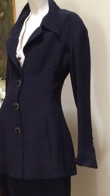 Karl Lagerfeld Karl Largerfeld Navy Blue Asymmetric Suit Image 8