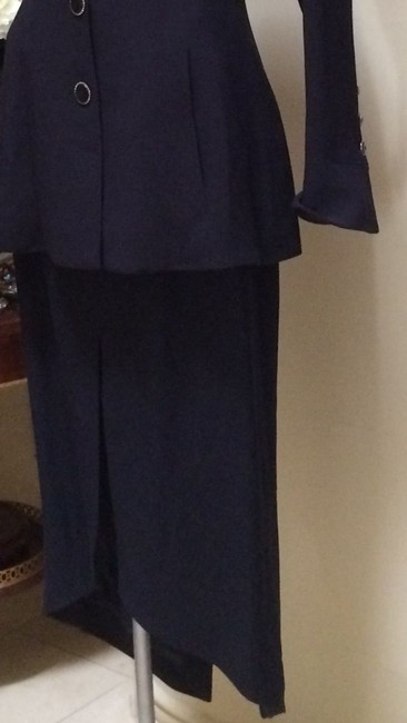 Karl Lagerfeld Karl Largerfeld Navy Blue Asymmetric Suit Image 9