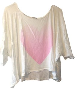 Wildfox Flowy Oversized T Shirt White Pink