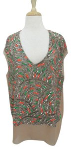 Elizabeth and James Beaded Silk Chiffon Dressy Top multi-color