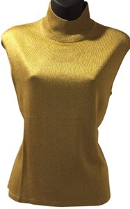 Jones New York Acetate Rayon Metallic Top Gold