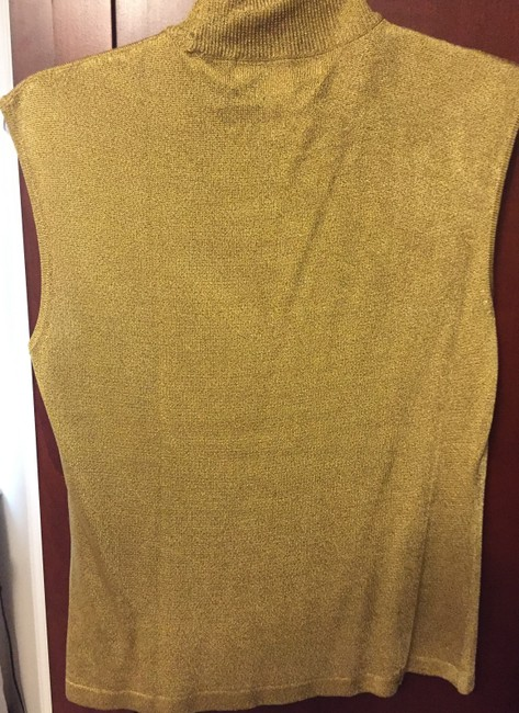 Jones New York Acetate Rayon Metallic Top Gold Image 1