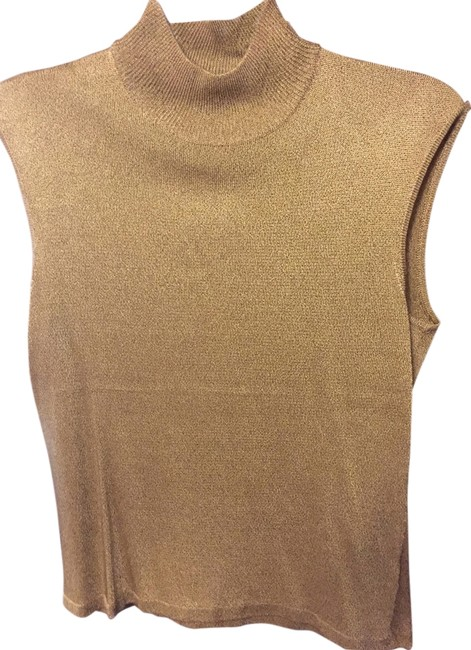 Jones New York Acetate Rayon Metallic Top Gold Image 2