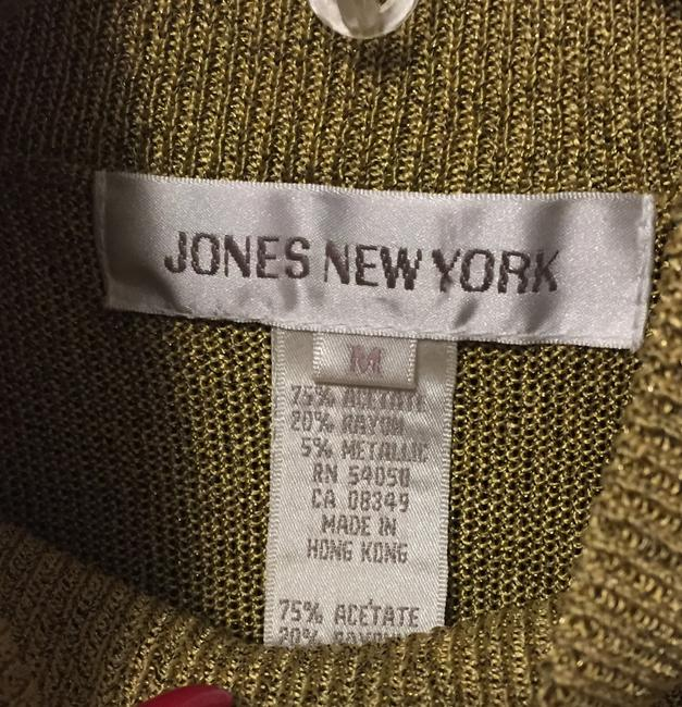 Jones New York Acetate Rayon Metallic Top Gold Image 3