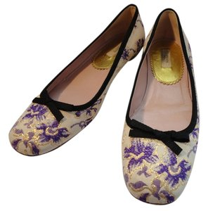 Prada Floral Gold Bow Purple Flats