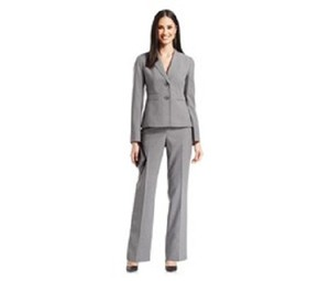 Le Suit LE SUIT NEW Womens Country Club Gray Pinstripe 2PC Suit Size 6