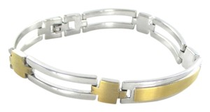 db STERLING SILVER & 14KT YELLOW GOLD BRACELET DB DESIGNS KARAT BAR LINK BANGLE