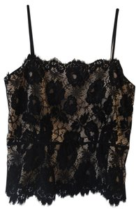 MILLY Lace Top Black and Nude