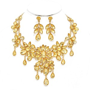 Other Rhinestone Crystal Topaz Necklace And Earrings
