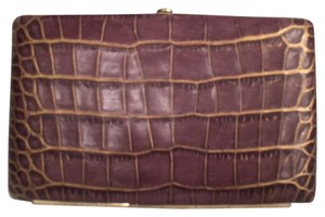 Abas Leather Embossed Leather Purple Gold Clutch