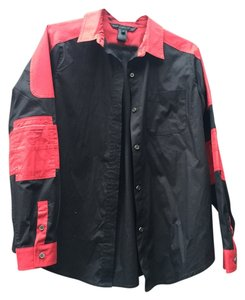 Marc by Marc Jacobs Red Rocker Button Down Shirt Black/Red