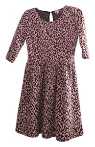 Maison Jules short dress Burgundy & Ivory Leopard Mini Fit And Flare on Tradesy