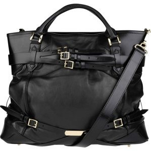 Burberry Large Fall Winter Belted Leather Tote in Black