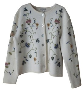 Coldwater Creek Wool Embroidered Cardigan