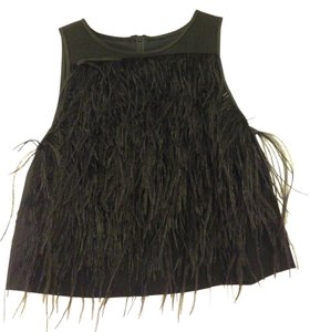 Tibi Ostrich Feather Crop Top Black