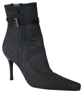 Stuart Weitzman Grey Wool Black Leather Trim Boots