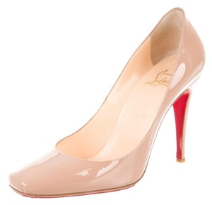 Christian Louboutin Patent Leather Square Toe Nude Black Pumps