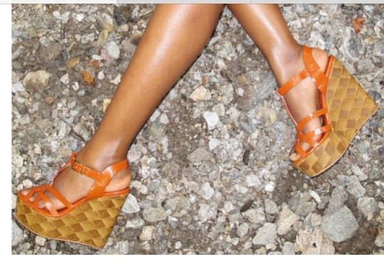 Modern Vintage Orange Brown Wedges