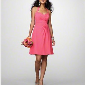 Alfred Angelo Coral Chiffon Destination Bridesmaid/Mob Dress Size 4 (S)