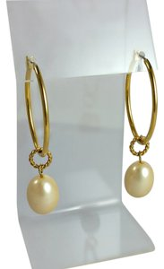 Anne Klein Large Faux Pearl - Gold Earrings - Anne Klein - 1990's Earrings