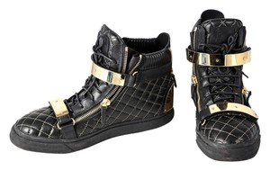 Giuseppe Zanotti Quilted Leather High Top Sneakers Black/Gold Mens Black Athletic