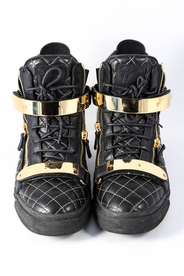 Giuseppe Zanotti Quilted Leather High Top Sneakers Black/Gold Mens Black Athletic Image 1