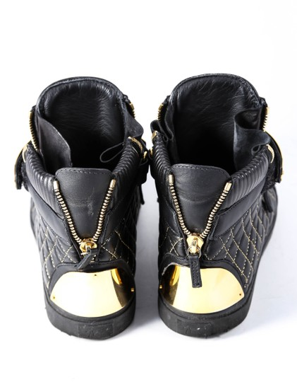 Giuseppe Zanotti Quilted Leather High Top Sneakers Black/Gold Mens Black Athletic Image 2