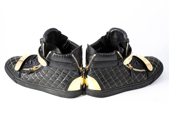Giuseppe Zanotti Quilted Leather High Top Sneakers Black/Gold Mens Black Athletic Image 3