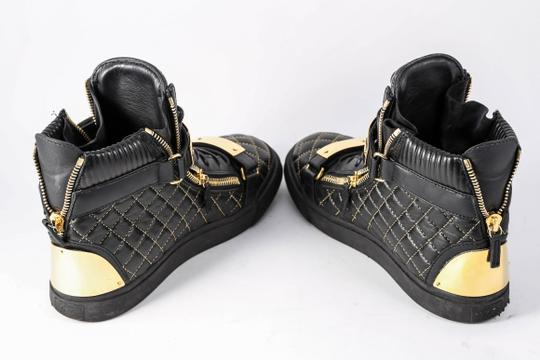 Giuseppe Zanotti Quilted Leather High Top Sneakers Black/Gold Mens Black Athletic Image 4
