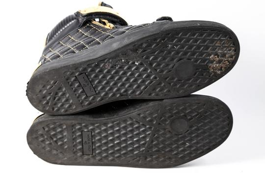 Giuseppe Zanotti Quilted Leather High Top Sneakers Black/Gold Mens Black Athletic Image 5