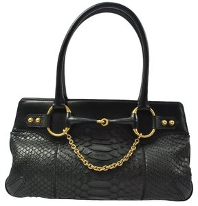 Gucci Sneakskin Hobo Python Satchel in Black