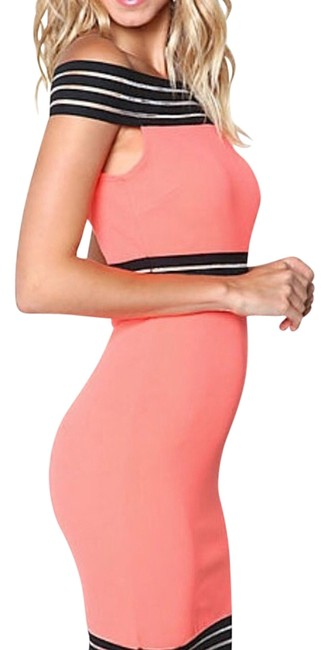 Item - Neon Coral Off The Shoulder Banded Mesh Above Knee Night Out Dress Size 8 (M)