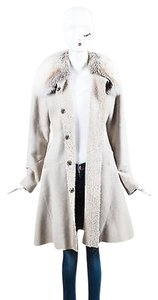Dennis Basso Light Suede Fox Fur Trim Stitched Snap Front Coat