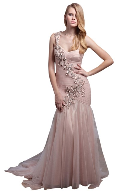 Terani Couture Long One Flowers Tulle Trumpet Dress