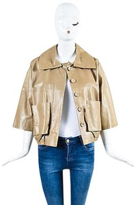 Chloé Chloe Taupe Lambskin Leather Brown Jacket