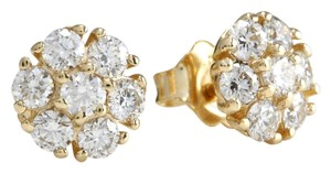Saravia ESTATE 1.00Ct Natural VS Diamond 14k Solid Yellow Gold Earrings