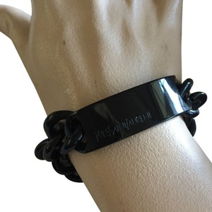 Saint Laurent YSL black Lucite ID bracelet