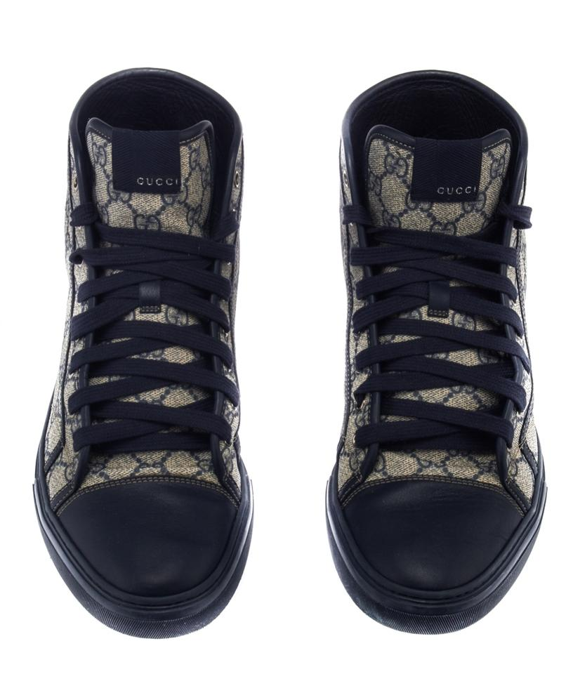 449e196c8 Gucci Canvas High Top Sneakers High Top Sneakers Navy Blue & Gray Athletic  Image 7. 12345678