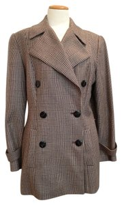 Ellen Tracy Houndstooth Menswear Tailored Brown & Cream Blazer