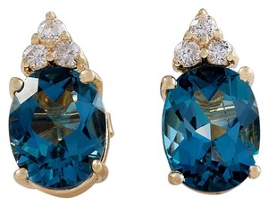Saravia 4.80ct Natural London Blue Topaz and Diamond 14K Yellow Gold Earrings