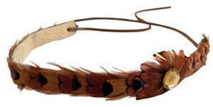 Other Feather Tie-Back Leather Headband