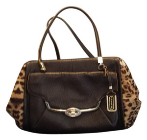 Coach Satchel in Haircalf animal print and brown leather